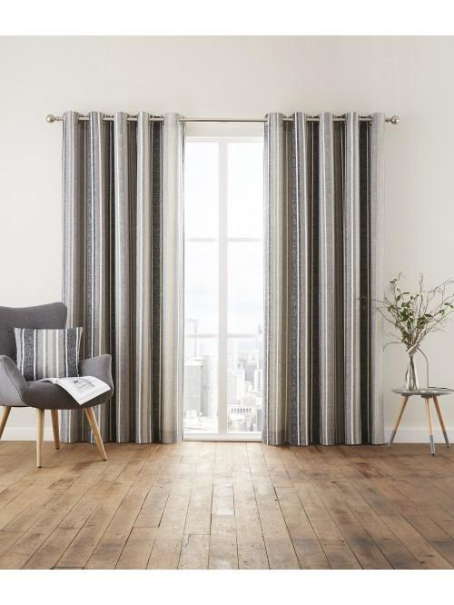 Brooklyn Stripe Eyelet Curtains Black