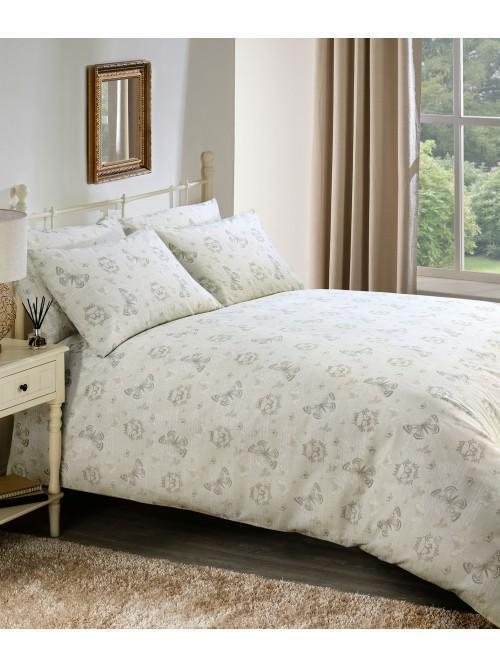 Butterfly Script Printed Duvet Set Natural