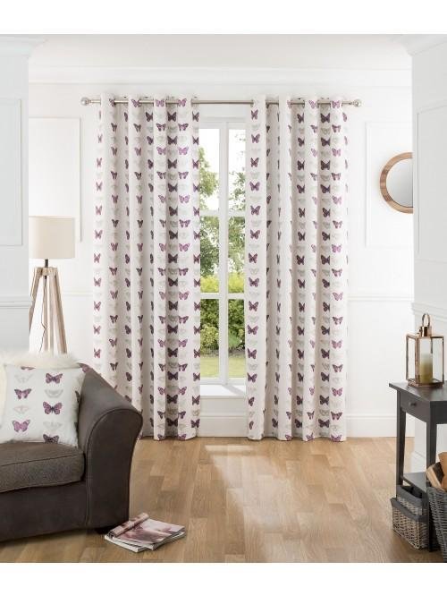 Butterfly Collage Eyelet Curtains Plum