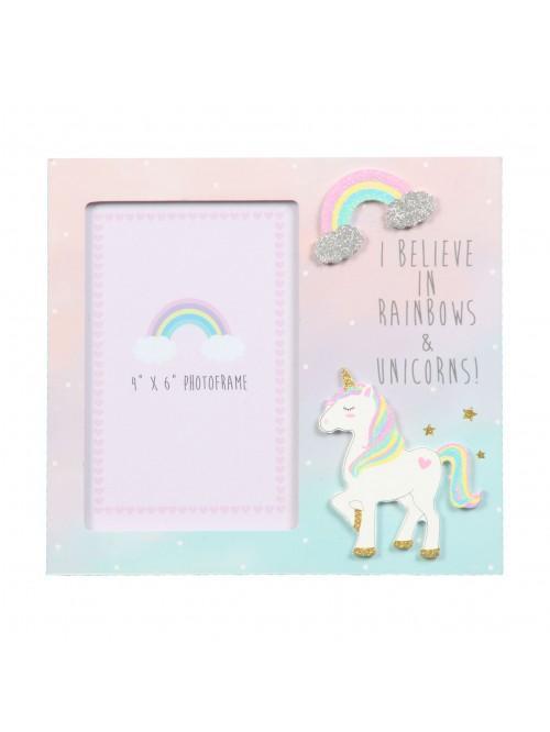 "Unicorn Magic Photo Frame I Believe in Rainbows... 4"" x 6"""