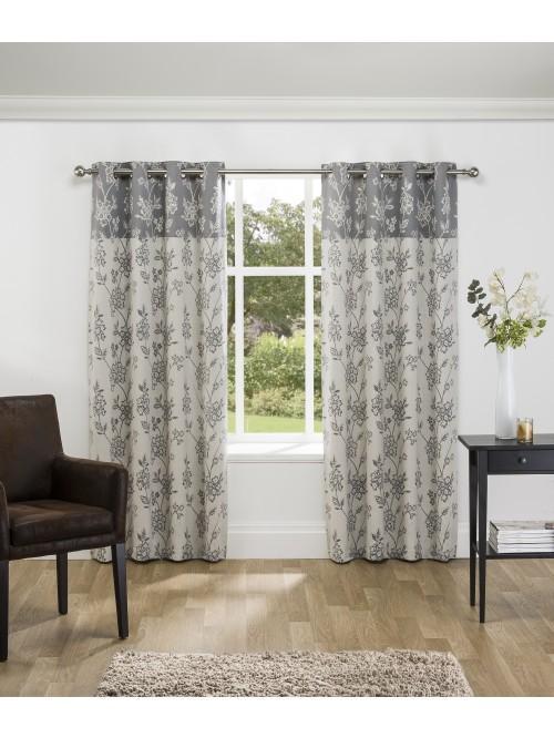 Chelsea Jacquard Eyelet Curtains Grey