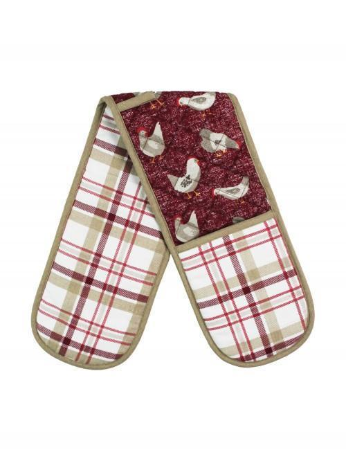 Farmhouse Chicken Double Oven Glove Red