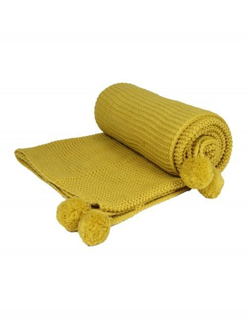 Chunky Hand Knit Pom Pom Throw Mustard