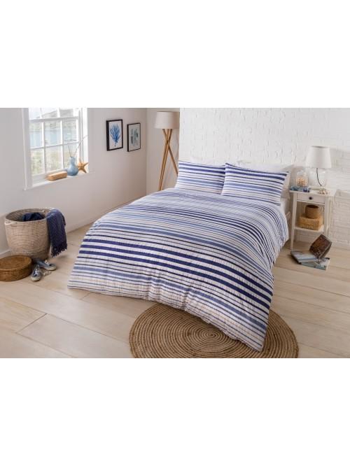 Coastal Printed Seersucker Duvet Set Blue