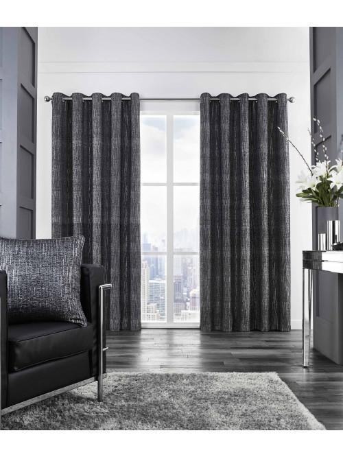 Corsica Glitter Effect Chenille Eyelet Curtains Black