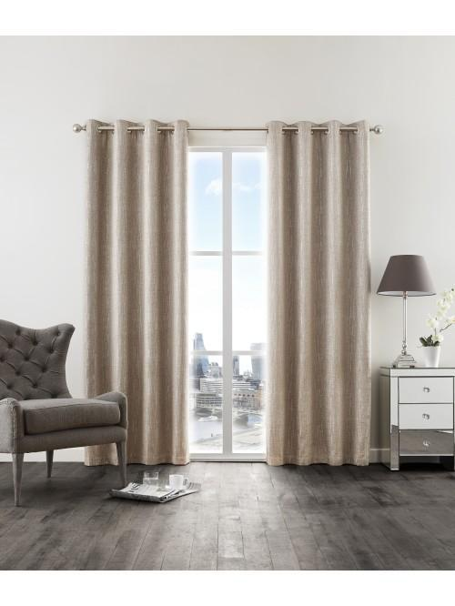 Corsica Glitter Effect Chenille Eyelet Curtains Natural
