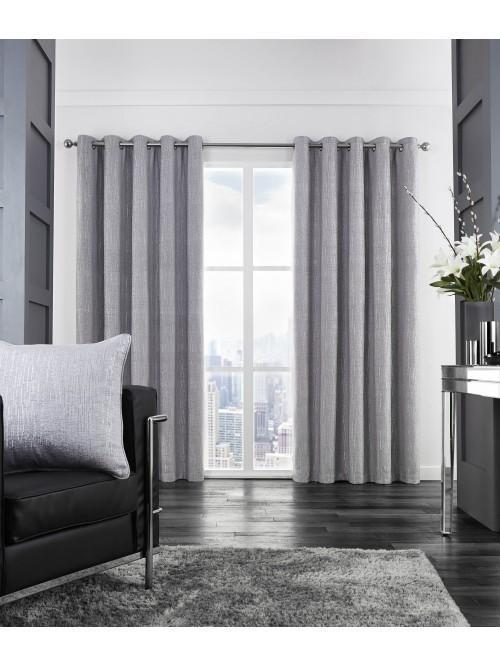Hotel Corsica Glitter Chenille Thermal Eyelet Curtains Silver