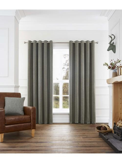Cosy Twill Eyelet Curtains Green
