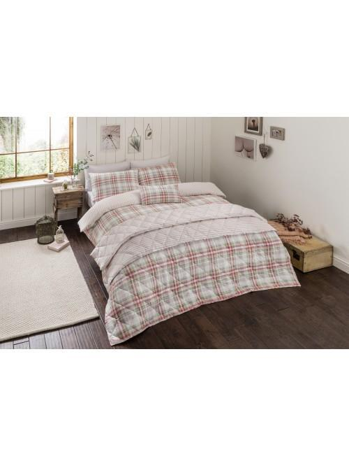 Country Check 100% Cotton Printed Bedding Collection Pink