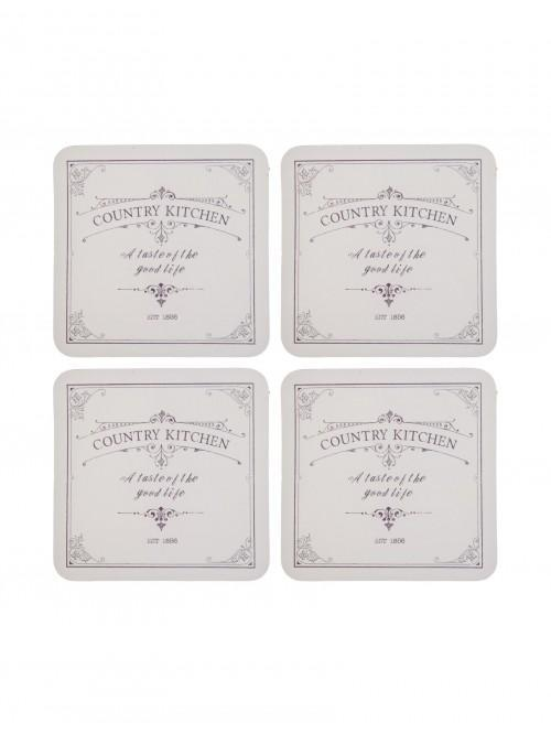 Ponden Home Pack Of 4 Country Kitchen Design Cork Back Coasters Cream