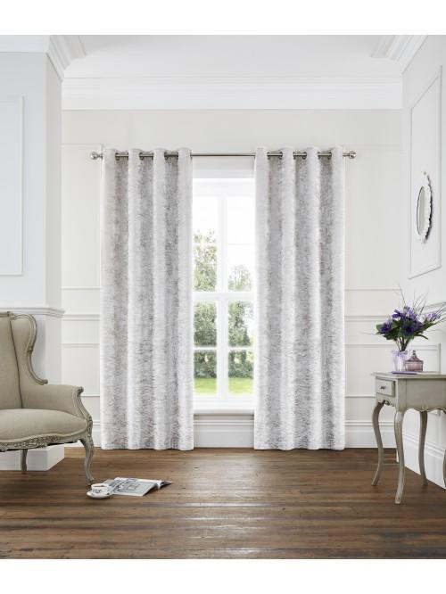 Opulence Crushed Velvet Eyelet Curtains Ivory