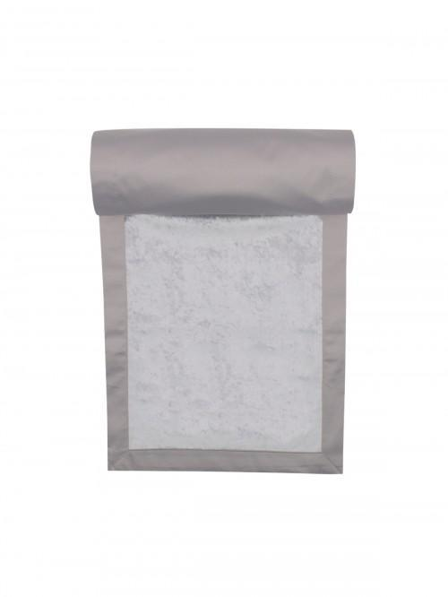 Hotel Collection Crushed Velvet Effect Fabric Table Runner Grey