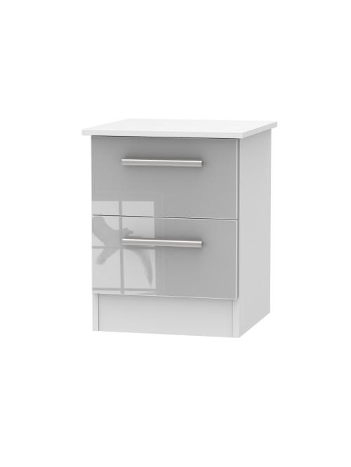Alessa 2 Drawer Bedside Cabinet Grey Gloss