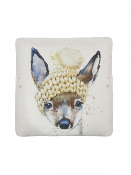 Deer In A Hat Cushion Natural