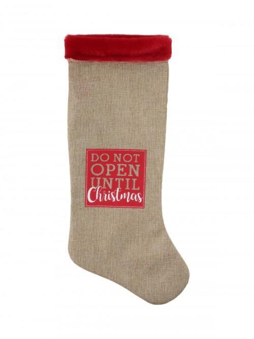 Christmas Hessian Look Stocking