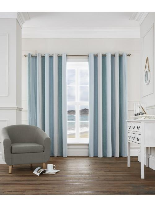 Dorset Stripe Eyelet Curtains Duck Egg