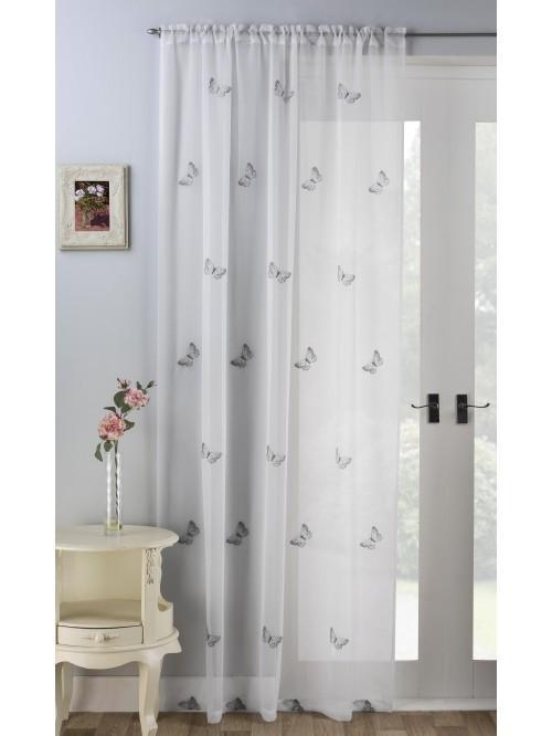 Embroidered Butterflies Voile Panel Grey