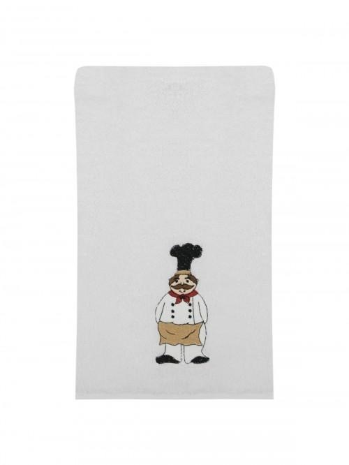 Embroidered Chef Hand Towel White