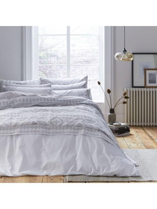 Bianca Embroidered Cotton Aztec Bedding Collection White