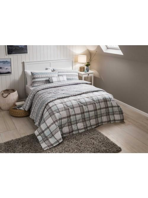 Fairisle Flannelette Duvet Set Duck Egg