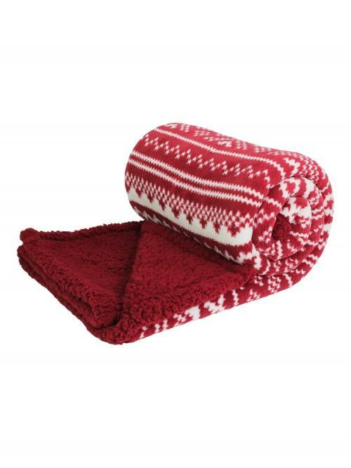 Fairisle Sherpa Throw Red