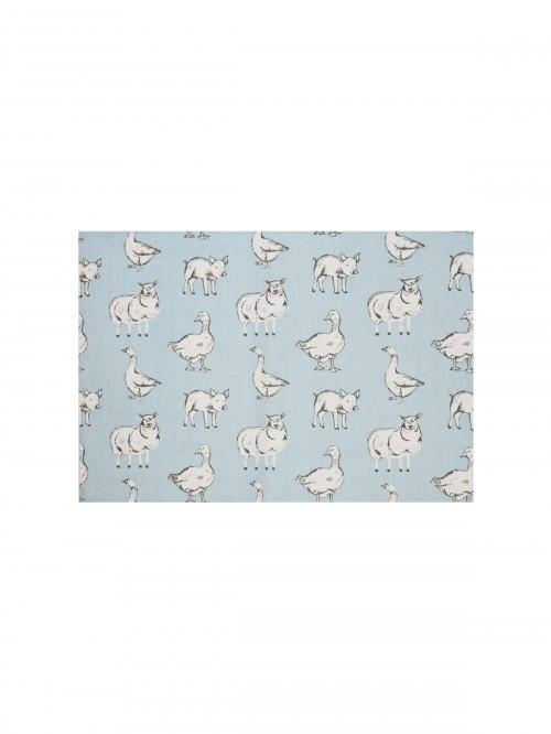 Farmyard Printed Fabric Placemat Duck Egg