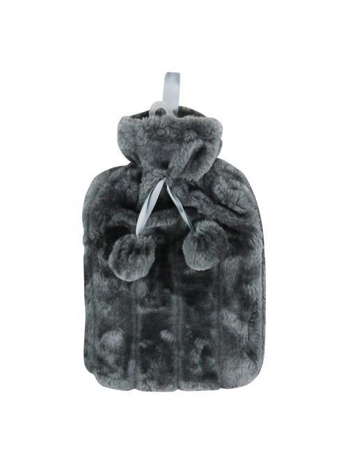 Faux Fur Hot Water Bottle Grey