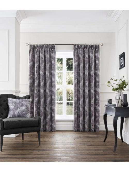Feather Pencil Pleat Curtains Grey