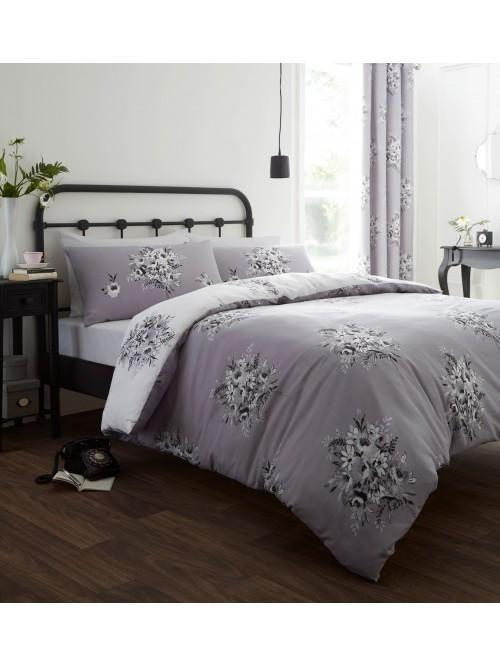 Catherine Lansfield Floral Bouquet Bedding Collection Grey