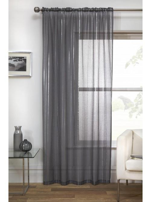 Foil Stripe Printed Voile Panel Grey