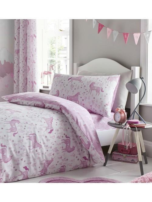 Catherine Lansfield Folk Unicorn Bedding Collection Pink