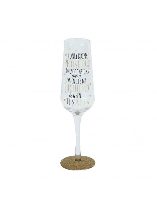 Signography Sparkling Flute Glass I Only Drink Prosecco