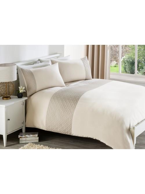 Geo Quilted Panel Duvet Set Natural