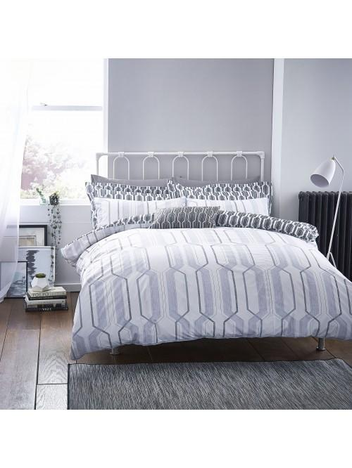 Bianca Geo Cotton Print Bedding Collection Grey