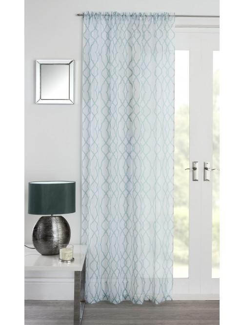 Geo Voile Panel Duck Egg