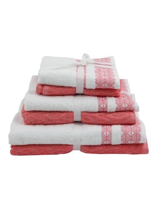 Geometric Jacquard Towels Coral