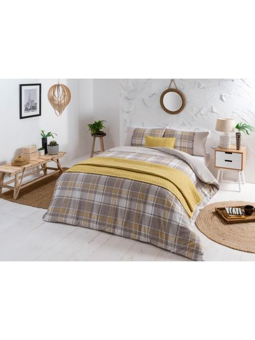 Global Check 100% Cotton Printed Duvet Set Ochre