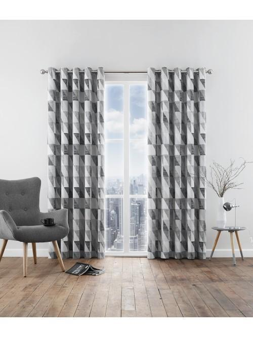 Grenwich Geometric Eyelet Curtains Grey ...