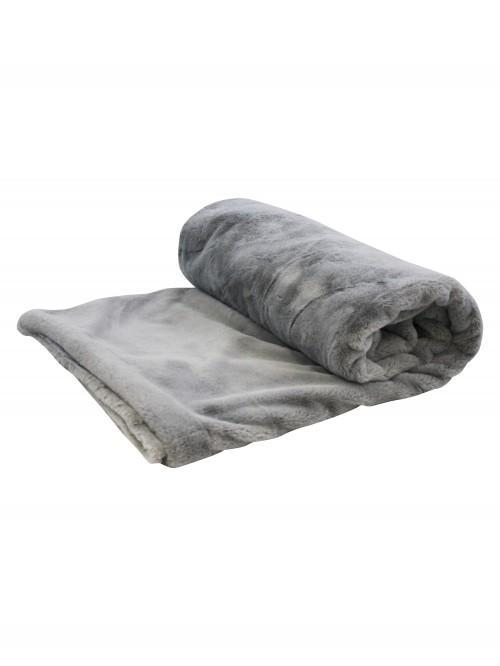 Faux Fur Bed Throw  Grey
