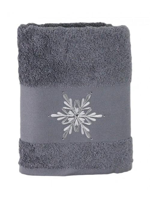 Sparkle Snowflake Hand Towel Grey
