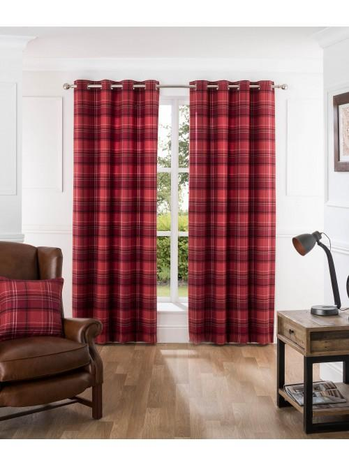 Hardy Woven Check Eyelet Curtains Red