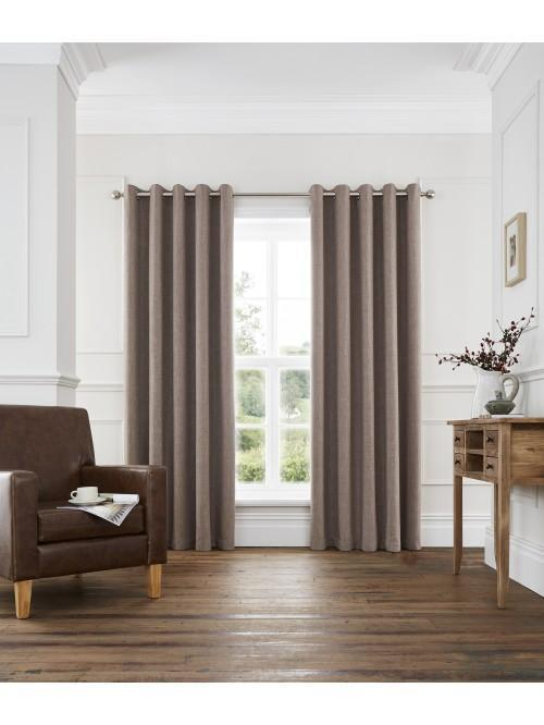 Harlow Blackout Eyelet Curtains Coffee