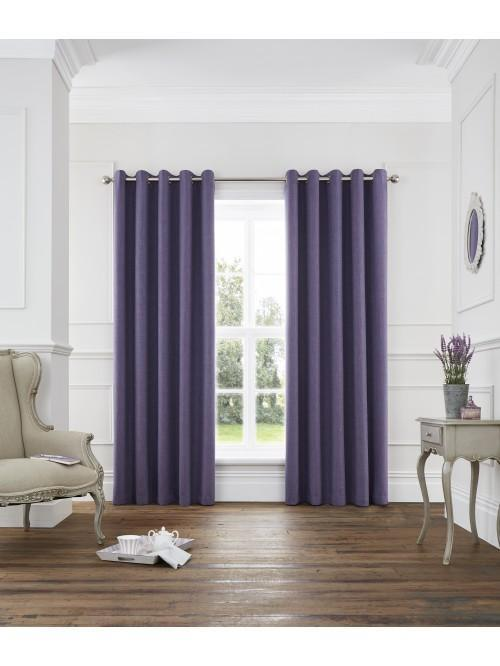 Harlow Blackout Eyelet Curtains Heather