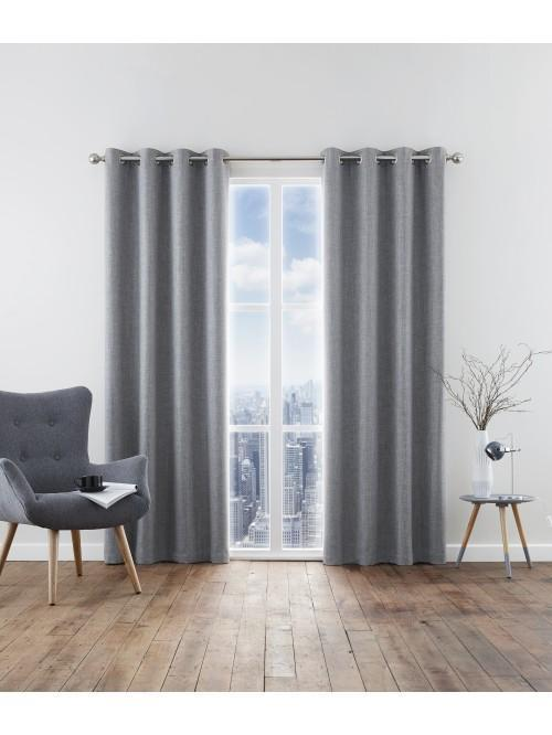 Harlow Thermal Blackout Eyelet Curtains Grey