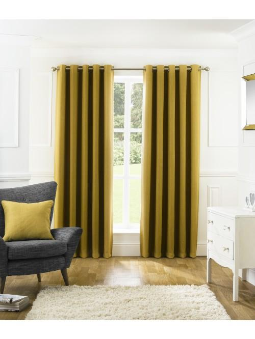 Harlow Blackout Eyelet Curtains Ochre