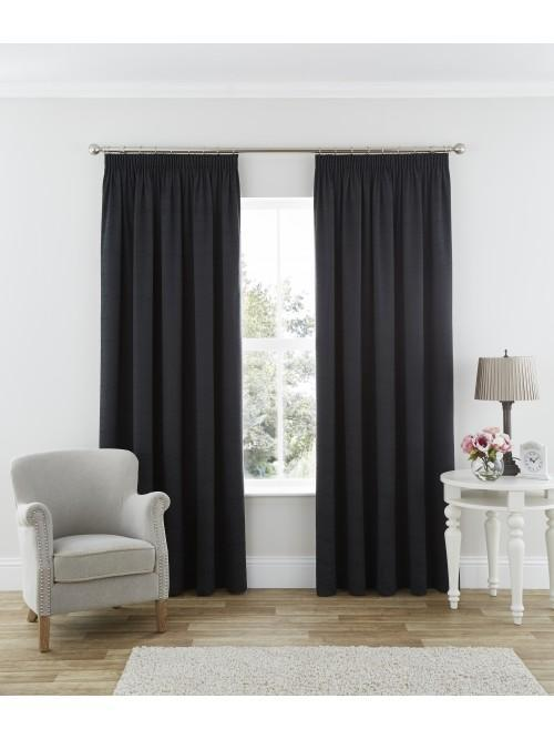Harmony Thermal Blackout Pencil Pleat Curtains Black
