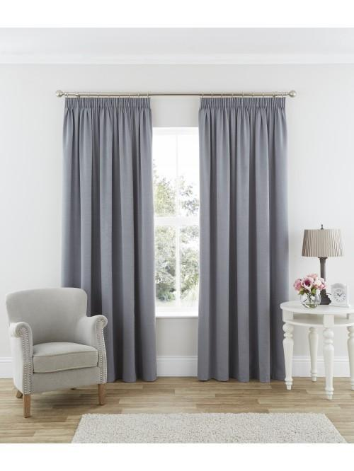 Harmony Thermal Blackout Pencil Pleat Curtains Grey