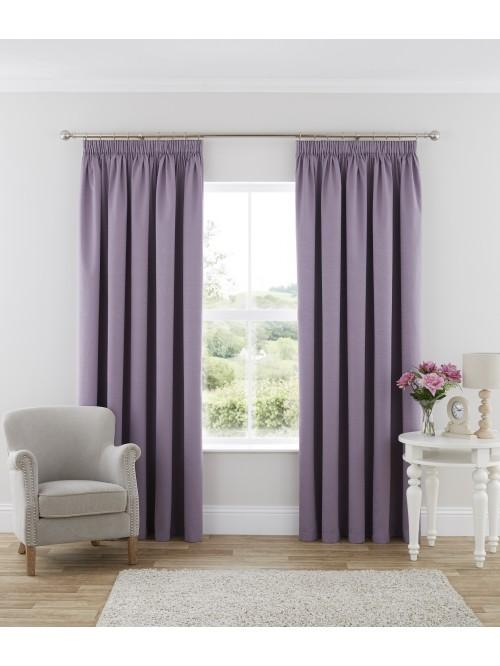 Harmony Blackout Pencil Pleat Curtains Heather