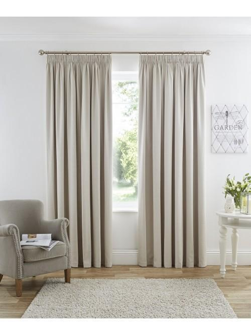 Harmony Pencil Pleat Blackout Curtains Cream