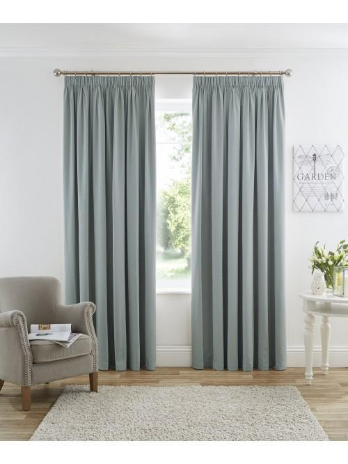 Harmony Pencil Pleat Blackout Curtains Duck Egg